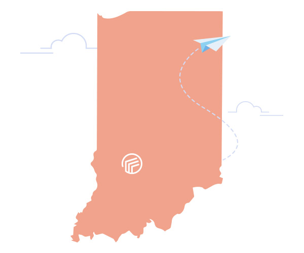 The state of Indiana with the Author Solutions logo in place of Bloomington the city.