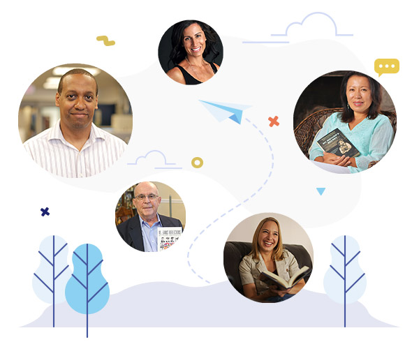 iUniverse authors scattered in circles in front of a white illustrated background with trees, clouds, and a paper airplane.