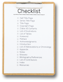 checklist to keep track of the sections  of your book